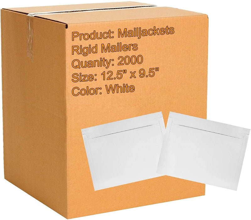 White Mailjacket Rigid Mailers Self-Seal Long Size Opening Paperboard Stayflat Envelopes /w Tear Strip