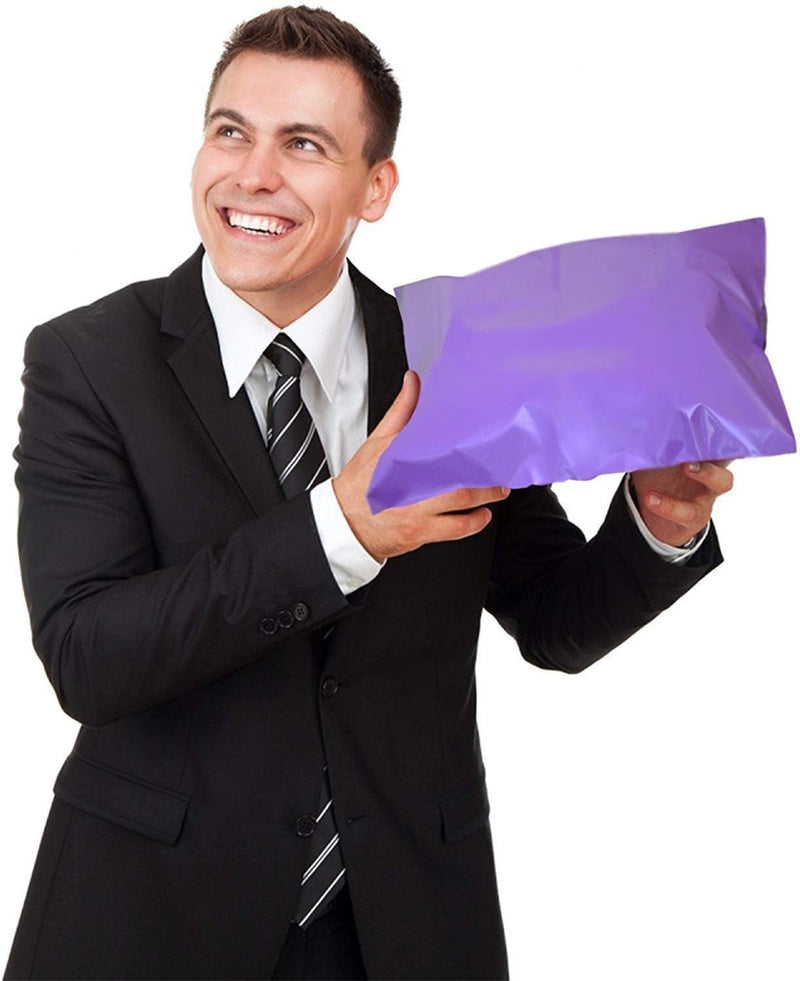 "25 Pack Purple Flat Poly Mailers 14.5"" x 19"" Shipping Bags 2mil /w Peel & Seal"