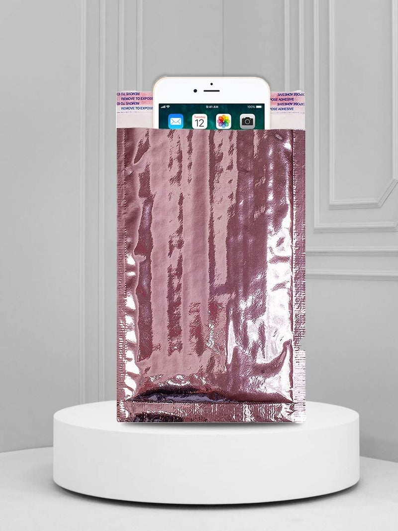 Rose Gold Glamour Mirrored Metallic Foil Self-Seal Bubble Mailers Cushion Padded Envelopes /w Peel & Seal