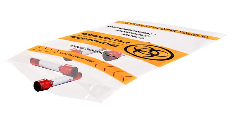 Pack Of 500 Biohazard Specimen Bags, Orange And Black 12 x 15. Zip Locking Tear Pouch Bags Thickness 2 Mil. Seal Top Specimen Lab Transport - AMZSupply.com