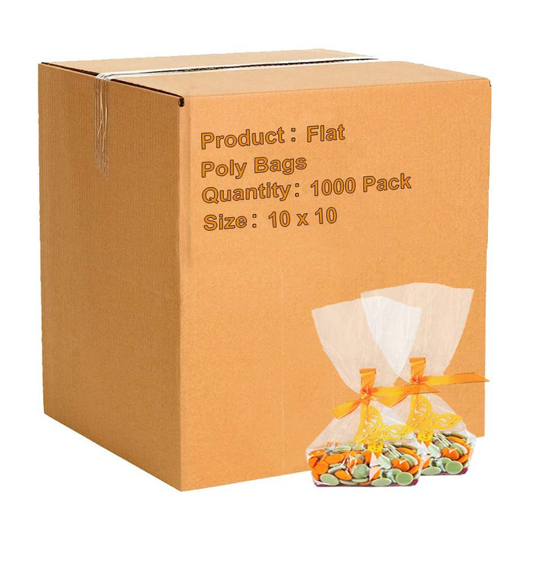 "1000 Pack Clear Flat Open Top Poly Bags 10"" x 10"" 2 Mil"