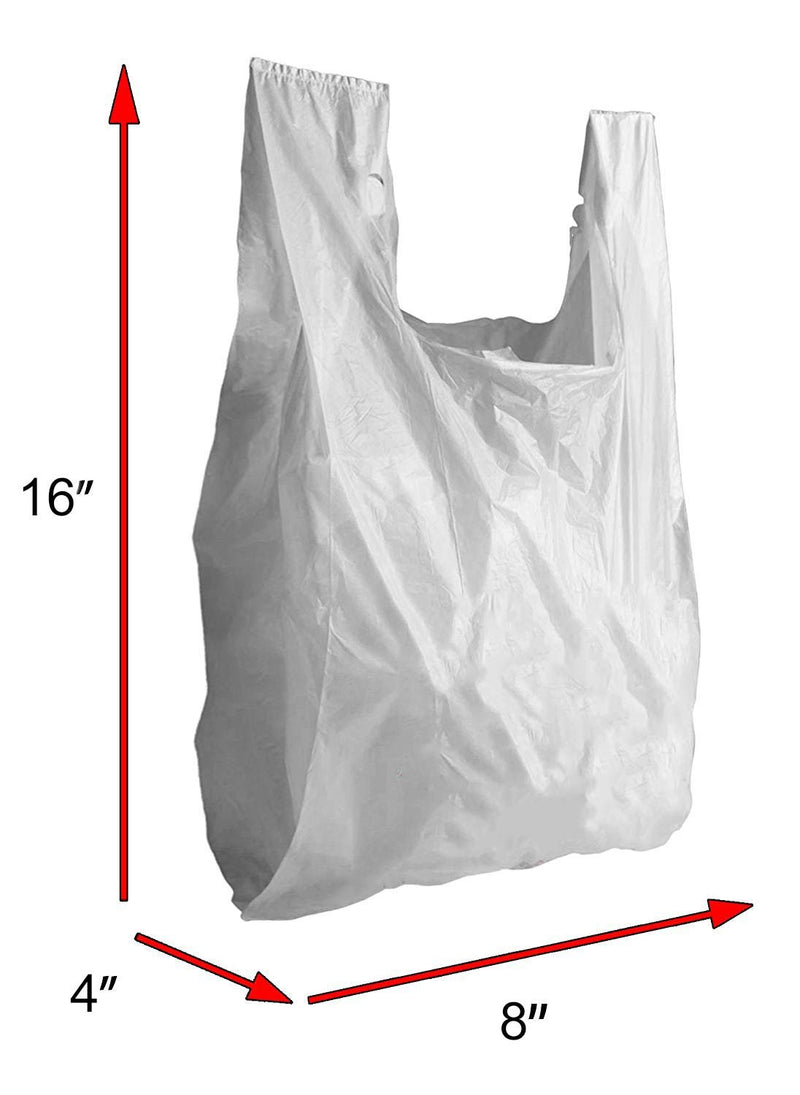 Pack Of 2000 White T-Shirt Plastic Bags 8 X 4 X 16. Plain T-Shirt Carry-Out Bags 8X4X16. Thickness 0.65 Mil. Unprinted Shopping Grocery Bags. - AMZ Supply