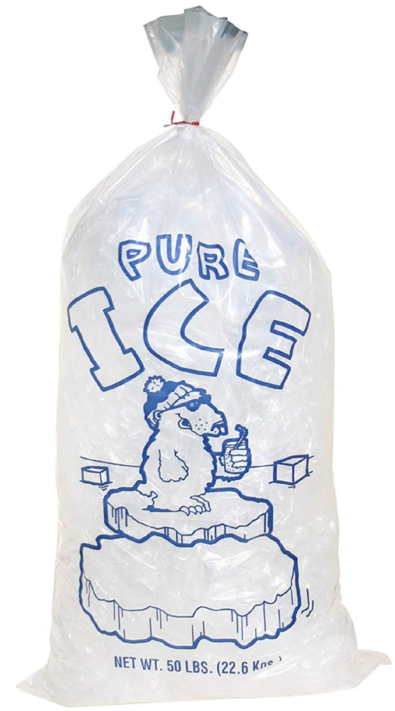Pack Of 250 Plain Top Ice Bags With Twist Ties 18 X 36. Pure Ice Printed Bags 18X36. Thickness 3 Mil. FDA, USDA Approved, 50 Lbs. - AMZ Supply