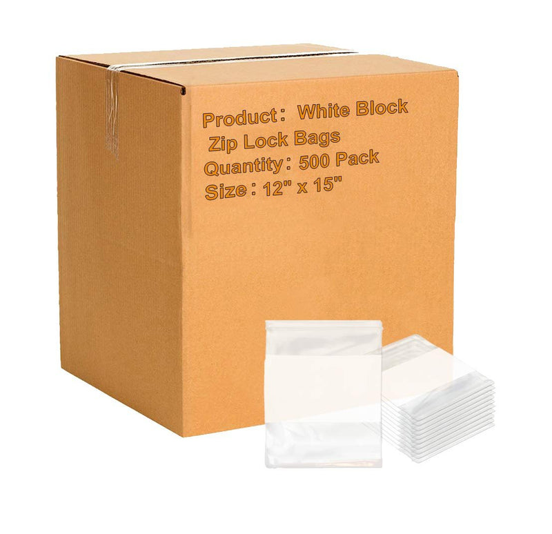 12 x 15 White Block Zip Lock Bags Ultra Thick Write On Block Poly Bags FDA Approved, 6 Mil. Great For Packing And Storing - 500 Pack - AMZSupply.com