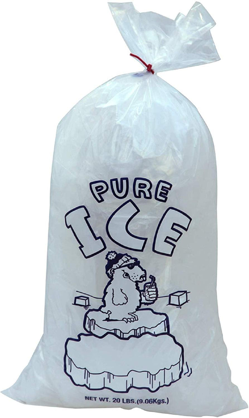Pack Of 500 Plain Top Ice Bags With Twist Ties 13.5 X 28. Pure Ice Printed Bags 13 1/2 X 28. Thickness 2 Mil. FDA, USDA Approved, 20 Lbs. - AMZ Supply