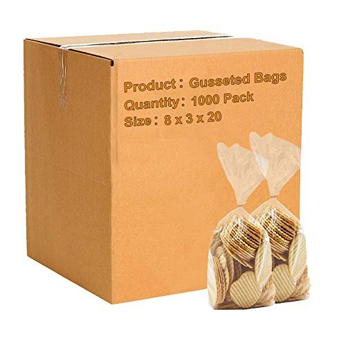 "1000 Pack Clear Low Density Poly Gusseted Bags 8"" x 3"" x 20"" 1.25 Mil"