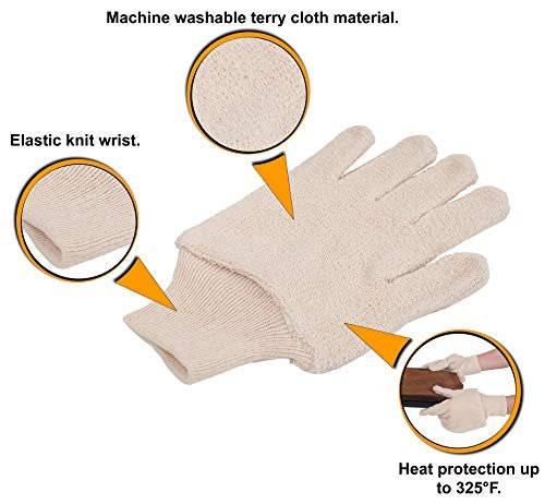 Terry Cloth Oven Gloves Heat Resistant to 325ºF 12 Pair 24 oz