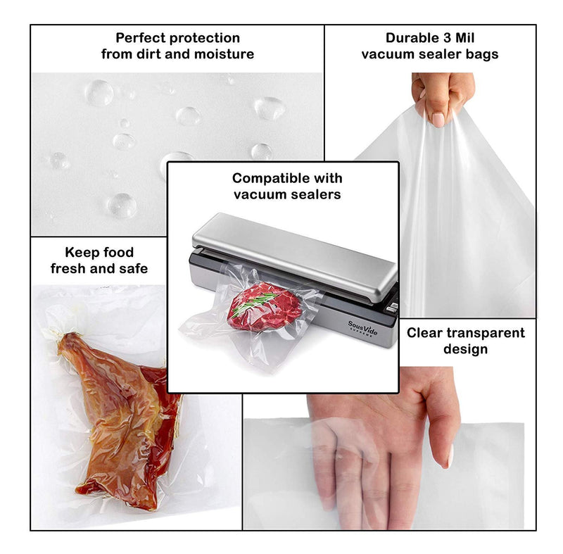 Pack Of 500 Co-Extruded Vacuum Pouches, Clear 16 X 24. Vacuum Food Bags 16X24. FDA, USDA Approved, 3 Mil Thick. - AMZ Supply