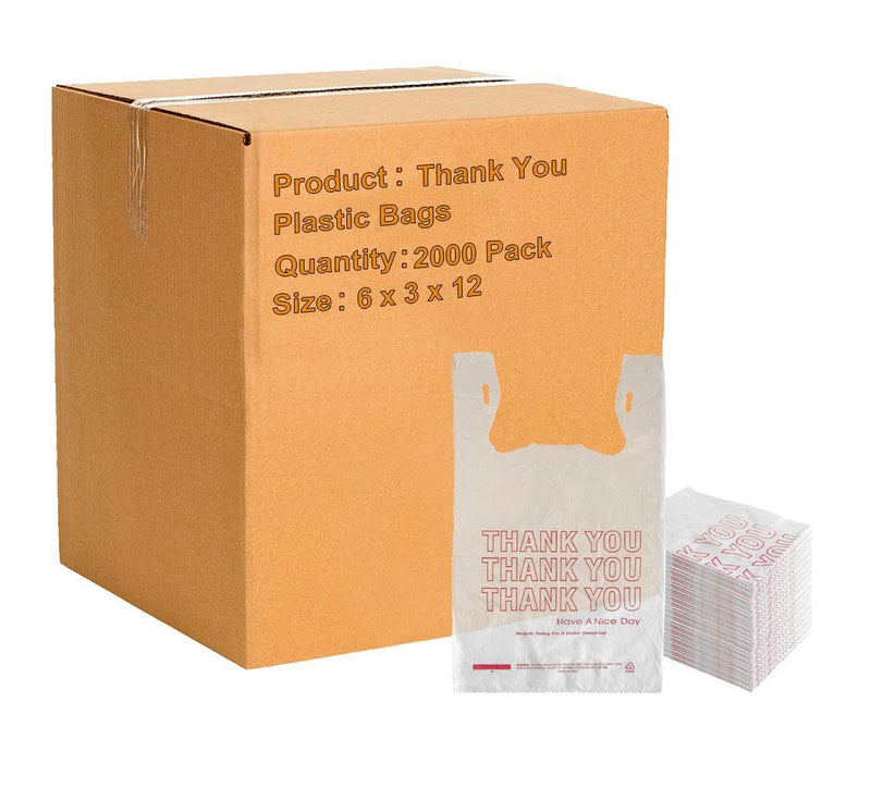 Pack Of 2000 Thank You Plastic Bags 6 x 3 x 12. Carry-Out T-Shirt Bags Thickness 0.65 Mil. Reusable Preprinted Shopping Bags - AMZSupply.com