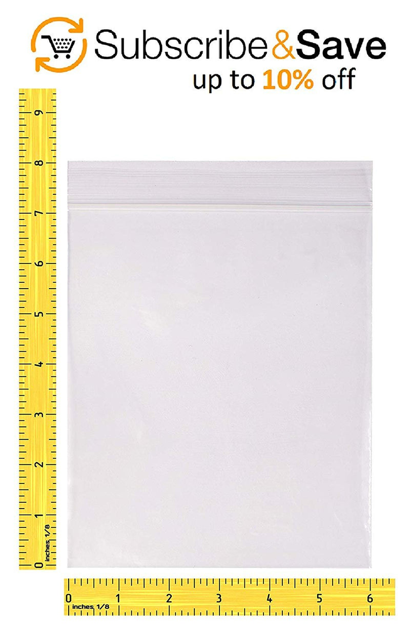 "1000 Pack Clear Poly Seal Top Zip Lock Bags 6"" x 8"" 4 Mil"