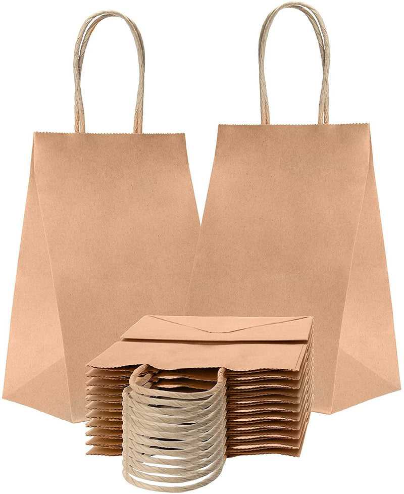 Kraft Paper Shopping Bags 5.25 x 3.75 x 8 Retail Bags - AMZSupply.com
