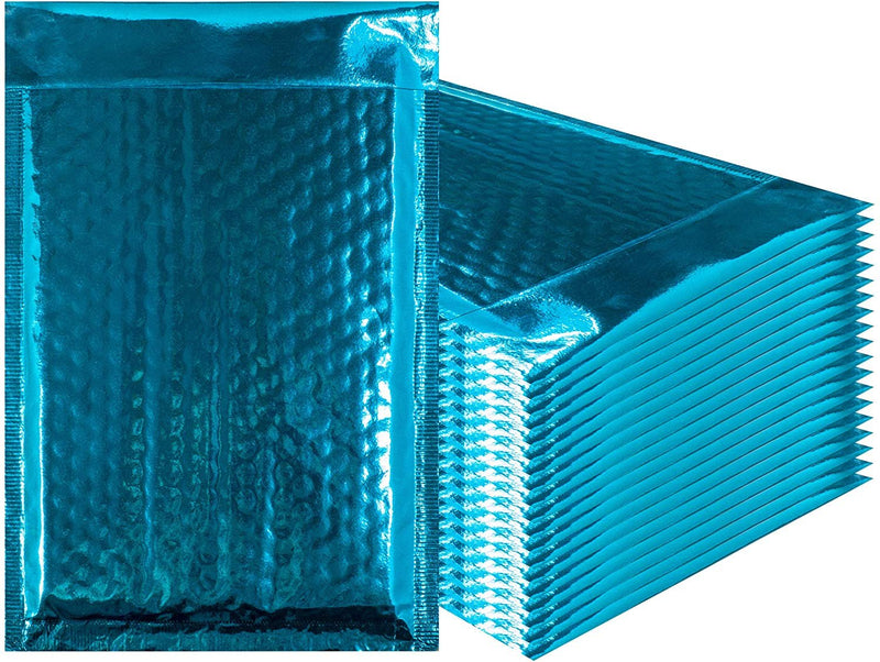 7.25x11 Bubble Mailers Padded Envelopes Teal Glamour Metallic Foil - 20 Pack - AMZSupply.com