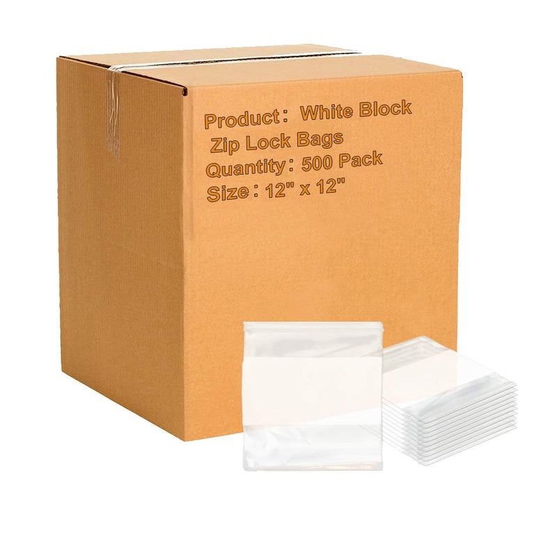 12 x 12 White Block Zip Lock Bags Ultra Thick Write On Block Poly Bags FDA Approved, 4 Mil. Great For Packing And Storing - 500 Pack - AMZSupply.com
