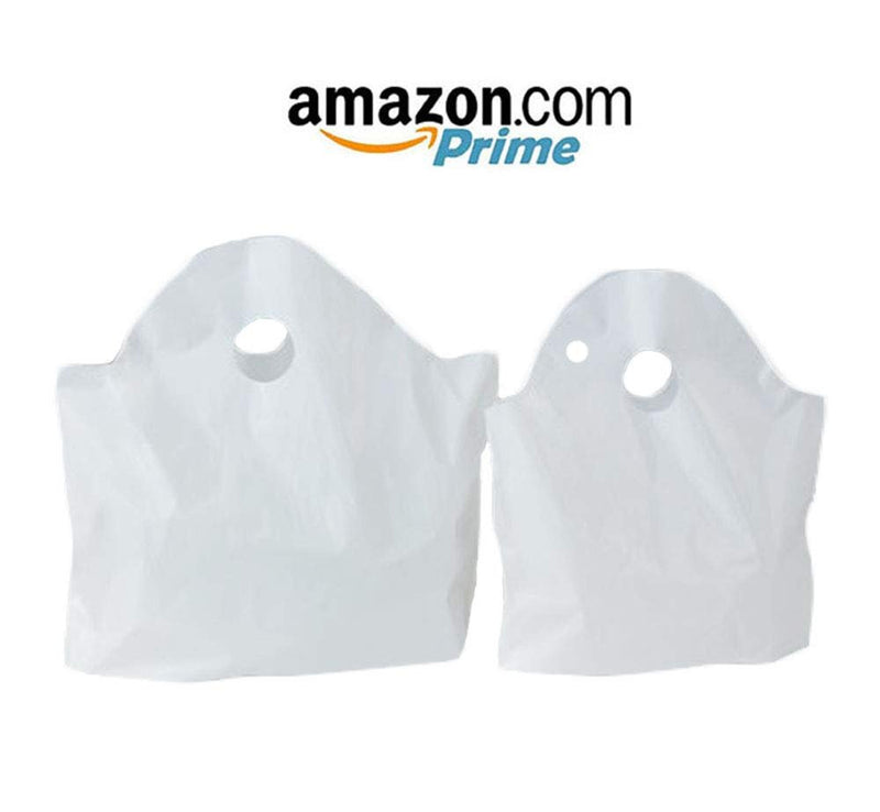 "2500 Pack Wave Handle Take-Out Food Bags 16"" L, 16"" H, 9.5 X 7 Bottom Size. White Color. Houseables Merchandise Bags, Retail Shopping Goodie Plastic - AMZ Supply"