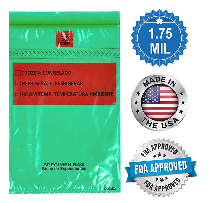 "1000 Pack Green Poly Specimen Transfer Bags 6"" x 9"""