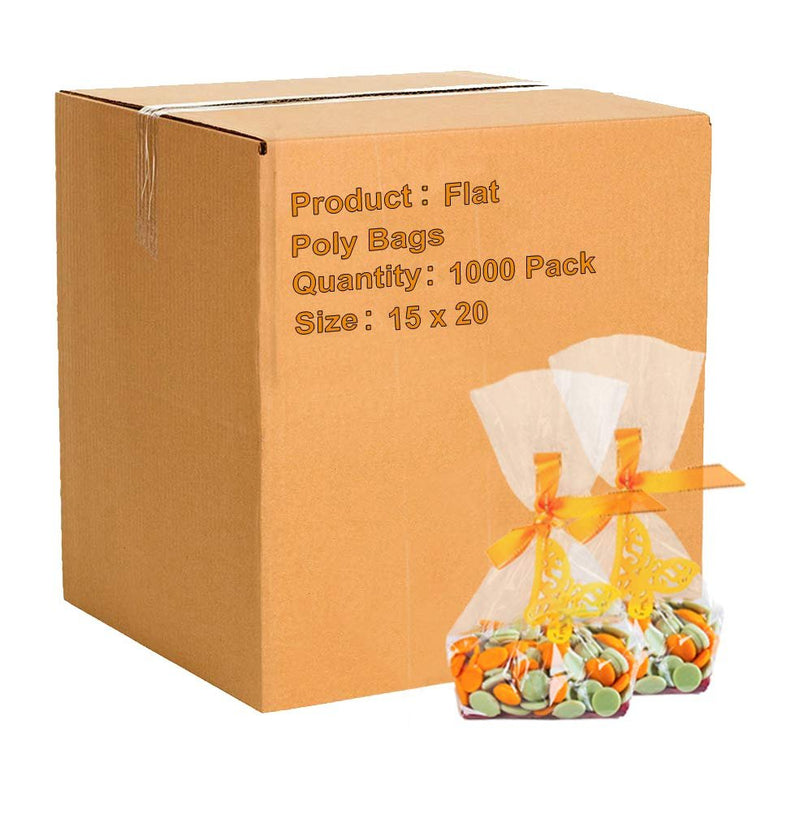 "1000 Pack Clear Flat Poly Bags 15"" x 20"" 2 MIl"