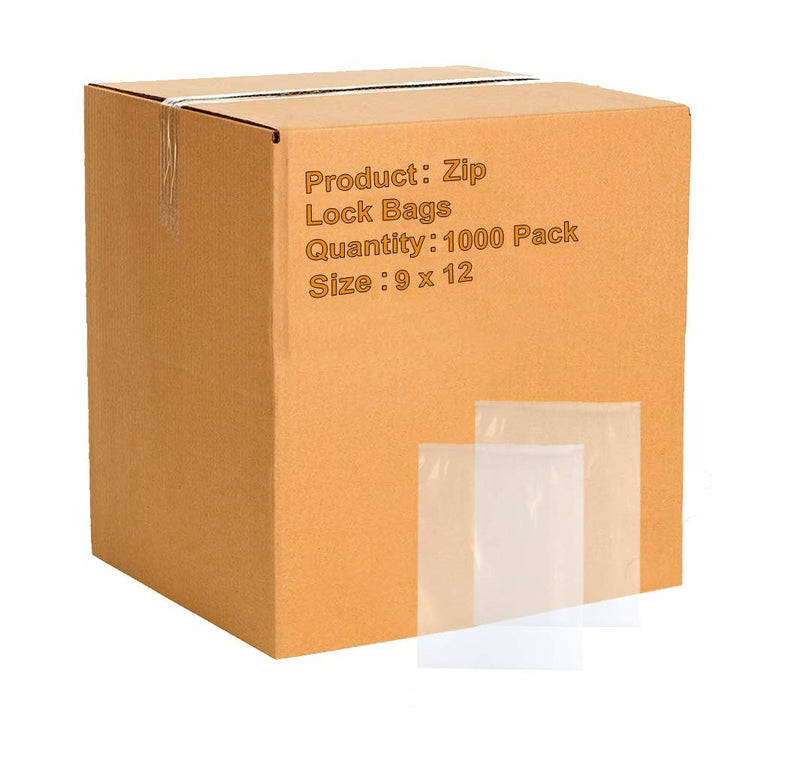 "1000 Pack Clear Poly Zip Lock Bags 9"" x 12"" 4 Mil"