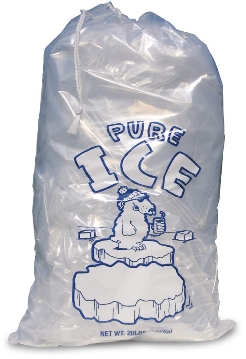 Pack Of 250 Drawstring Ice Bags 14.5 X 24. Pure Ice Printed Bags 14 1/2 X 24. Thickness 2 Mil. FDA, USDA Approved, 20 Lbs. Bpa Free Food Grade - AMZ Supply