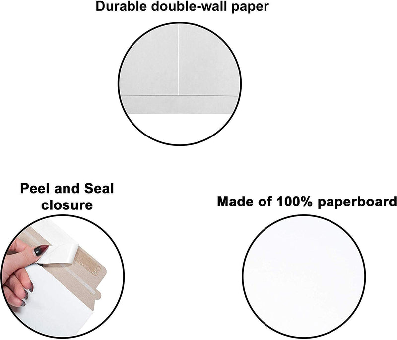 "10 Pack White Paperboard DO NOT BEND Rigid Mailers Self-Seal Stayflat Envelopes /w Tear Strip 9"" x 11.5"""
