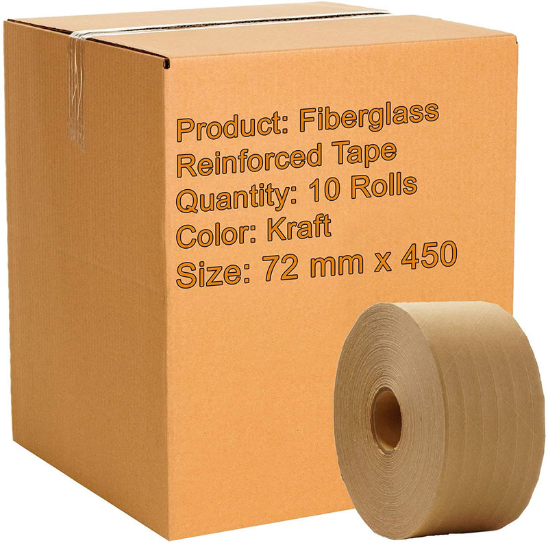 Fiberglass Reinforced Water-Activated Gummed Tapes 72 mm x 450 ft