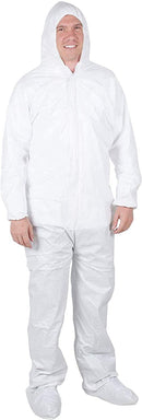 High Performance Coverall White Adult Disposable Coverall Laminated Non- Woven - AMZSupply.com