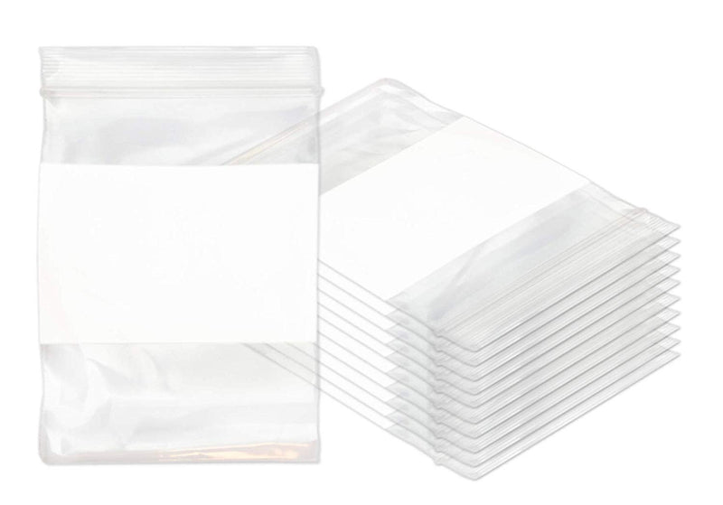 "1000 Pack White Poly Zip Lock Bags 6"" x 8"""