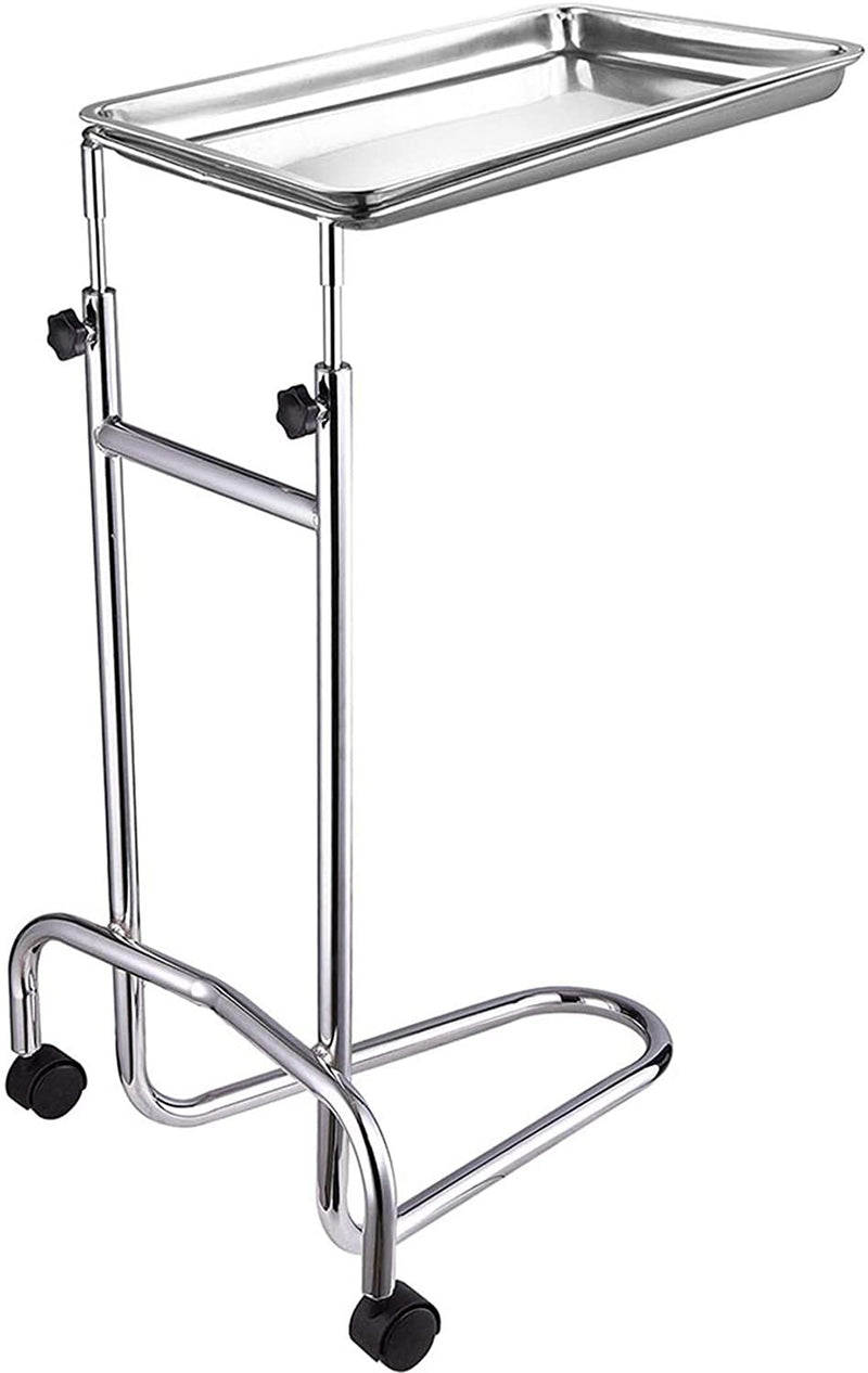 "Adjustable U-Shaped Base Medical Instrument Stand /w Tray 12 1/2"" x 19"""