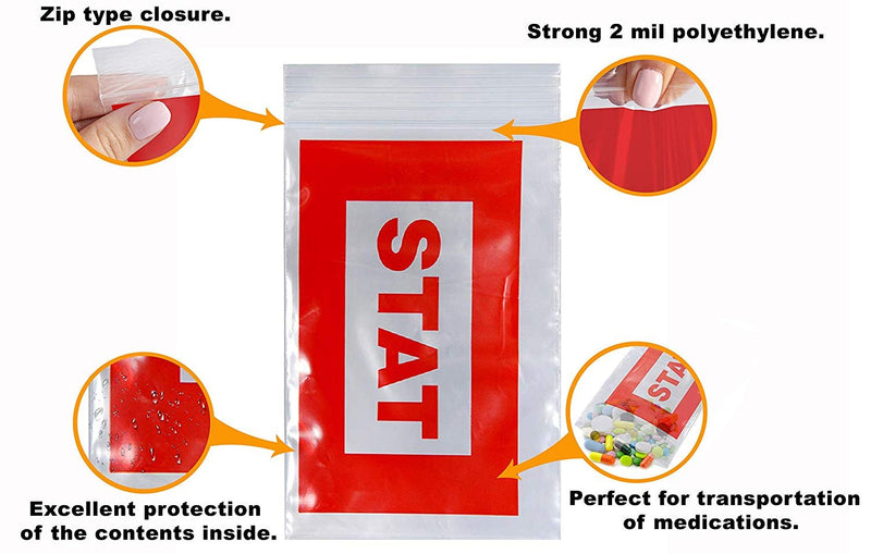 "1000 Pack Red Printed Poly Zip Locked Bags 5"" x 8"""
