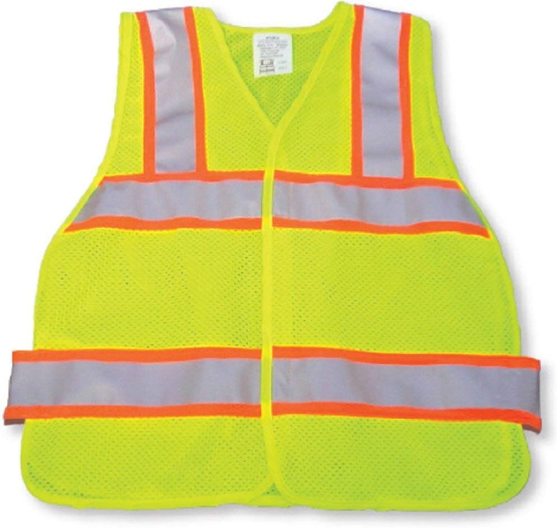 25 Pack High Visibility Safety Vests /w Orange Trim Silver Tape. Yellow Lightweight Comfortable Vests. Breathable Polyester Vests. Neon Yellow Vests - AMZSupply.com