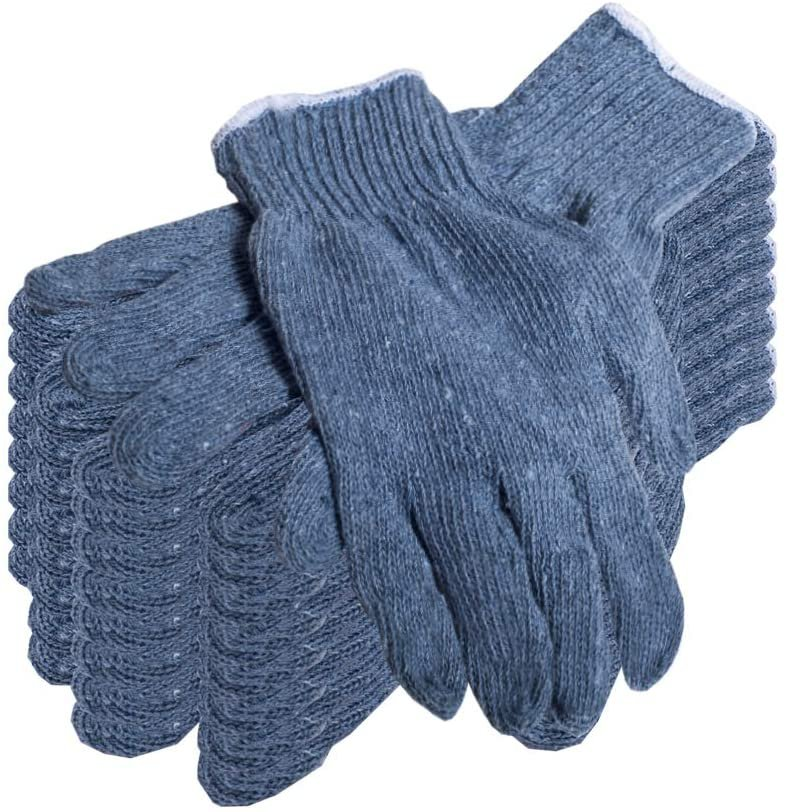 Pack of 24 Gray Cotton/Polyester Knit Gloves Regular Weight Work Gloves (12 pairs) - AMZSupply.com