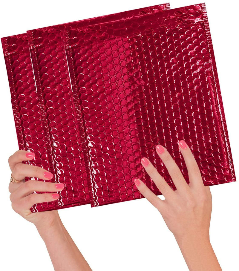 Red Heavy-Duty Glamour Metallic Foil Self-Seal Bubble Mailers Cushion Padded Envelopes /w Peel & Seal