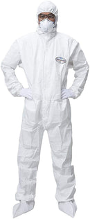 Disposable Laminated 3-Layer Non-Woven Coveralls /w Attached Hood, Boots, Elastic Wrists and Storm Flap Zipper Cover