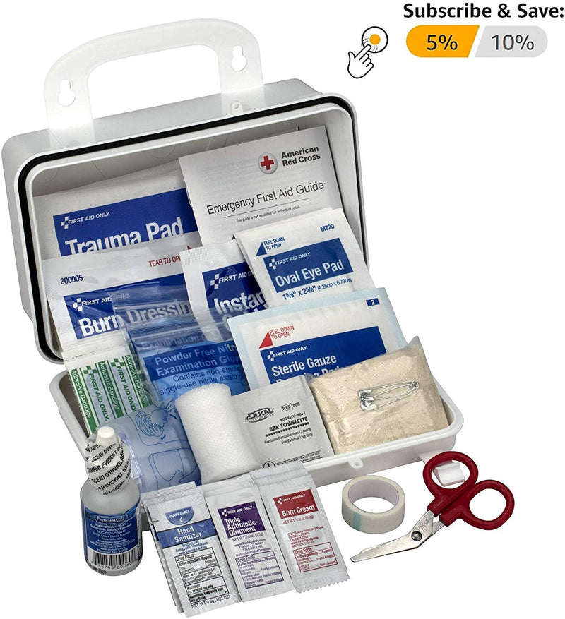 Shield Safety First Aid Kit For 10 People. All-Purpose Plastic Medical Kit For Emergency, Survival Situations At Home, School, Outdoors, Car - AMZSupply.com