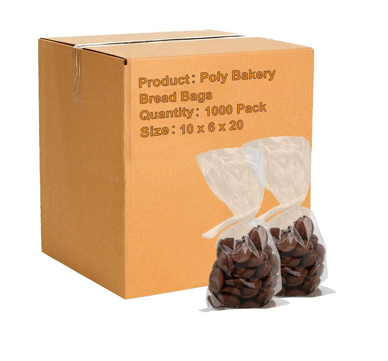 "1000 Pack Clear Poly Gusseted Bags 10"" x 6"" x 20"""