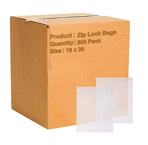 18 x 20 Clear Zip Lock Bags Seal Top Polyethylene Bags FDA Approved, 2 Mil. Plastic Poly Bags For Packing And Storing - 500 Pack - AMZSupply.com