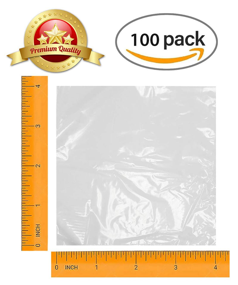 "100 Pack Clear Flat Poly Bags 4"" x 4"""