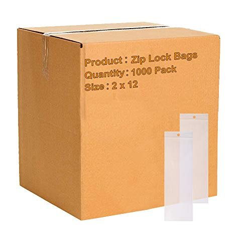 "1000 Pack Clear Low Density Poly Bags /w Hang Hole 2"" x 12"" 2 Mil"