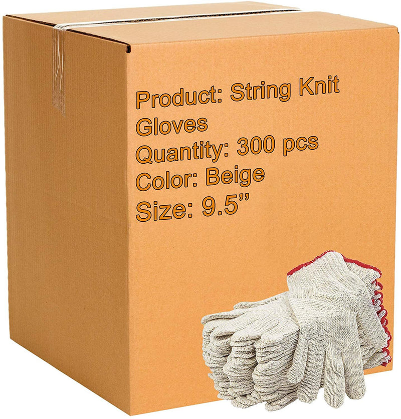 "300 Pack String Knit Gloves 9.5"". Washable Glove /w Elastic Knit Wrist. Cotton Polyester Shell Gloves. Plain Seamless Workwear Gloves - AMZSupply.com"