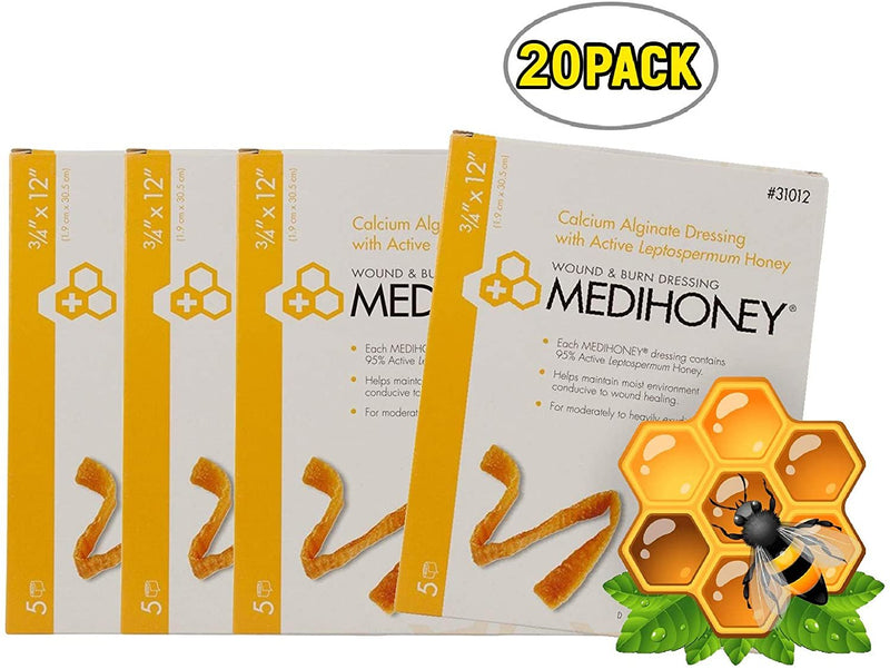 Calcium Alginate Dressing MEDIHONEY® 0.75 X 12 Inch Rope Calcium Alginate / Active Leptospermum Honey Sterile - 20 pack