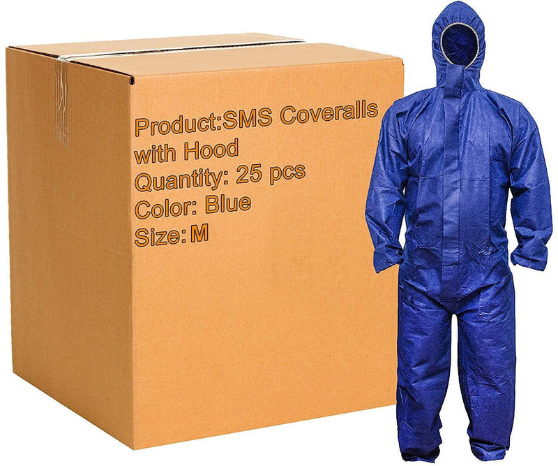Pack Of 25 Blue Sms Coveralls /w Hood, Elastic Cuffs, Ankles, Waist. Chemical Protective Coveralls. Unisex Disposable Workwear For Cleaning - AMZSupply.com