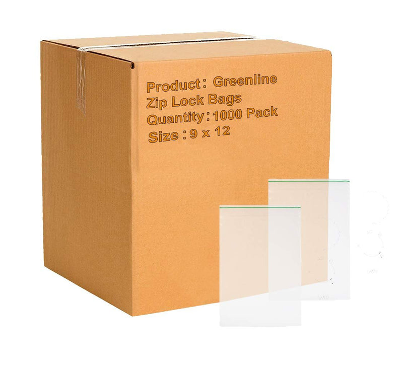 "1000 Pack Greenline Poly Zip Lock Bags 9"" x 12"""