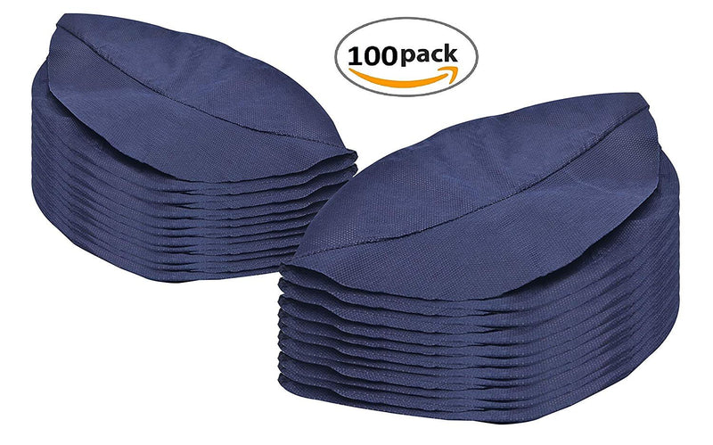 100 Pack Navy Blue Peaked Caps One Size