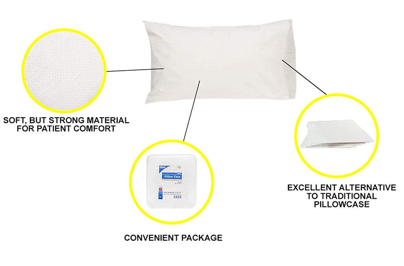 "Disposable Pillowcases 20"" x 29"". Pack Of 25 Pillow Covers For Hospitals, Clinics, Ambulance Services. Non-Sterile, Fluid-Resistant. Soft & Durable - AMZSupply.com"