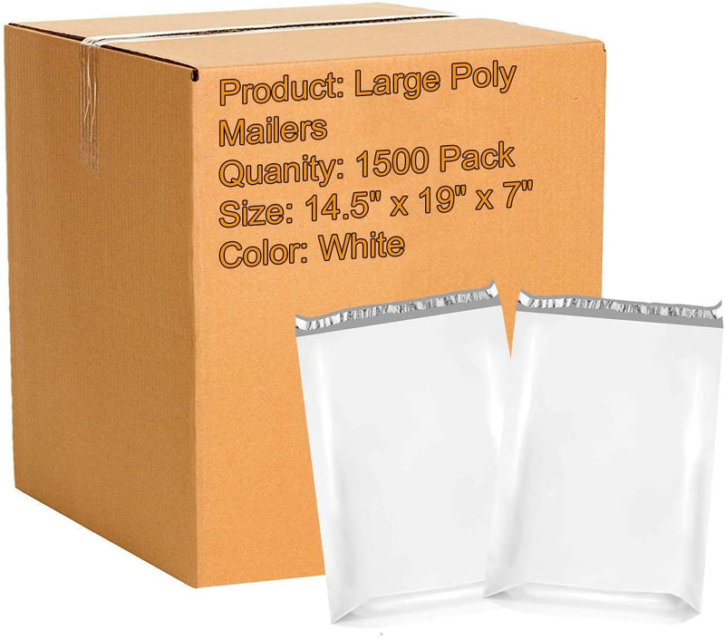 White Expandable Poly Mailers Gusseted Shipping Bags 2.5 mil /w Peel & Seal