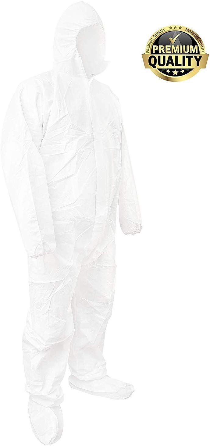 Pack Of 25 White 55G Microporous Coveralls /w Boot, Hood, Elastic Cuffs, Ankles, Waist. Coveralls. Heavy-Duty Protective Isex Disposable Workwear