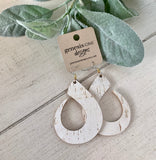 Cork Leather Sculpted Teardrop Earrings
