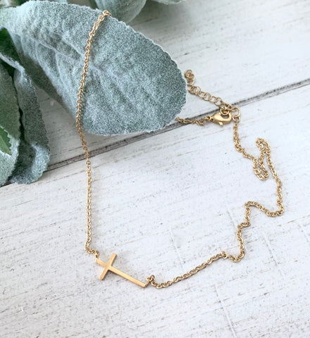 Sideways Satin Gold Cross Necklace