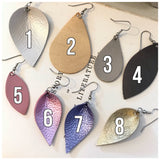 Leather Earrings - Geo Teardrop