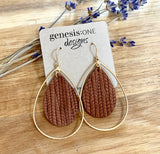 Deux Joli Teardrop Leather Earrings - Cinnamon Palm