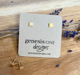 Sweet Little Square Studs with a Brushed Finish